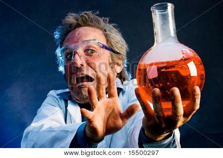 Crazy scientist handling explosive concoction