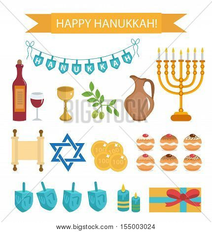 Hanukkah set of cartoon icons. Hanukkah Icons with Menorah Torah Sufganiyot Olives and Dreidel. Happy Hanukkah Festival of Lights flat icons design elements. Vector illustration
