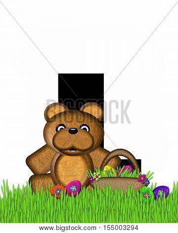 Alphabet Teddy Hunting Easter Eggs L