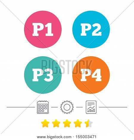 Car parking icons. First, second, third and four floor signs. P1, P2, P3 and P4 symbols. Calendar, cogwheel and report linear icons. Star vote ranking. Vector