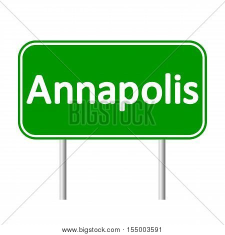 Annapolis green road sign isolated on white background.