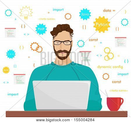 Man programmer hipster is working coding and programming on his laptop. Programmer php code occupation concept