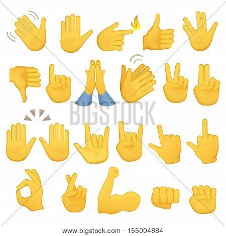 Set of hands icons and symbols. ahand icons. Different gestures, hands, signals and signs, vector illustration