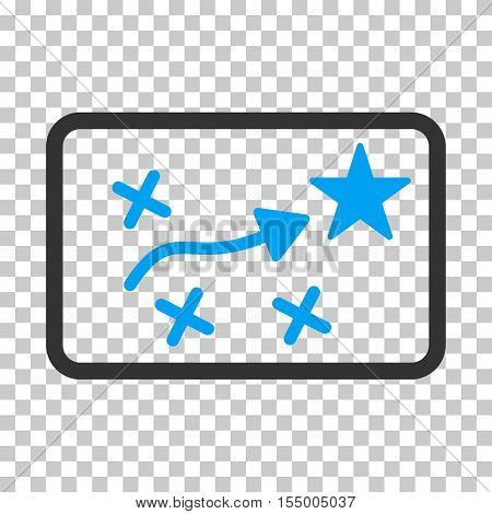Route Plan square icon. Vector pictograph style is a flat bicolor symbol, blue and gray colors, chess transparent background.