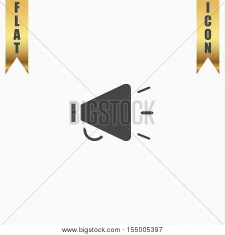 Simple mouthpiece. Flat Icon. Vector illustration grey symbol on white background with gold ribbon