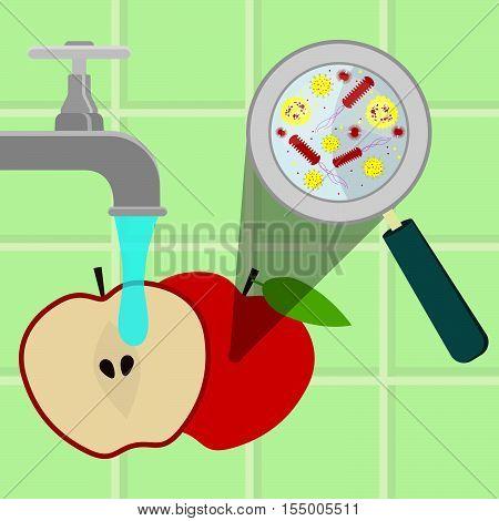 Washing Contaminated Apple