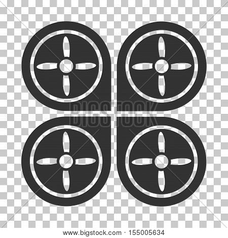 Quadrocopter interface toolbar icon. Vector pictogram style is a flat symbol, gray color, chess transparent background. poster