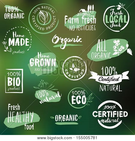 Hand drawn labels and badges collection for organic food and drink, natural products, restaurant, healthy food market and production, on the nature background. Vector illustrations.