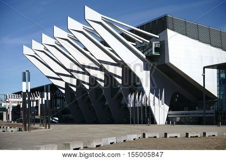BREMEN, GERMANY - AUGUST 30: The modern glass facade with steel structures of the OVB Arena, an entertainment venue on August 30, 2016 in Bremen.