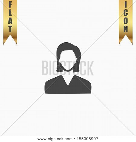 Woman avatar profile picture. Flat Icon. Vector illustration grey symbol on white background with gold ribbon