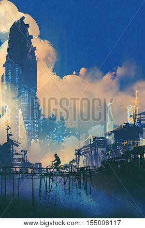 sci-fi cityscape with slum and futuristic skyscraper, illustration painting