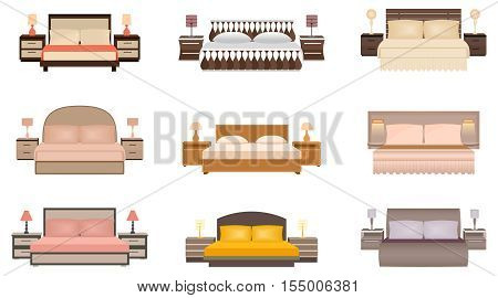 Set of warm colors nine bed with bedside tables lamps and headboards. Flat style vector illustration.