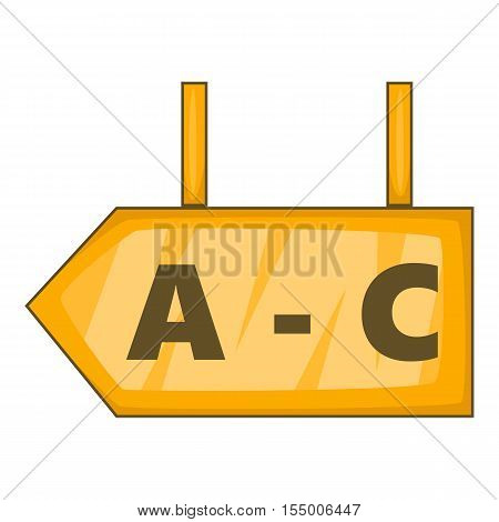 Signboard in warehouse icon. Cartoon illustration of signboard vector icon for web design