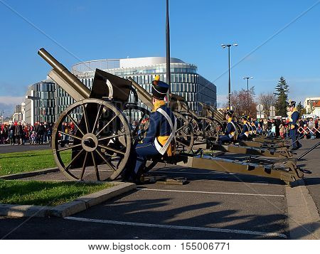Artillery. Warsaw, Poland November 11, 2015 Artillery Soldiers in historical uniforms during gun salute on the day of celebration of Polish Independence Day in Warsaw.