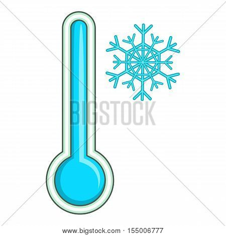Thermometer with low temperature icon. Cartoon illustration of thermometer icon for web design