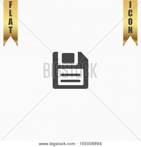 Magnetic floppy disc for computer data storage. Flat Icon. Vector illustration grey symbol on white background with gold ribbon