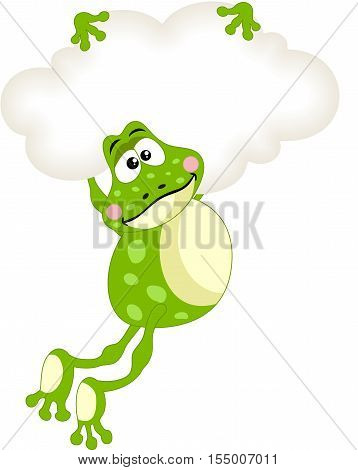 Scalable vectorial image representing a frog flying with blank cloud, isolated on white.
