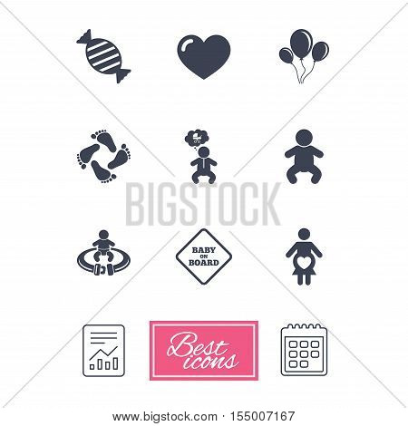 Pregnancy, maternity and baby care icons. Candy, strollers and fasten seat belt signs. Footprint, love and balloon symbols. Report document, calendar icons. Vector