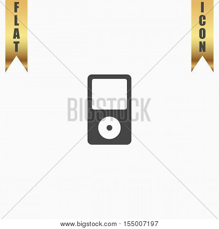 Portable media player. Flat Icon. Vector illustration grey symbol on white background with gold ribbon