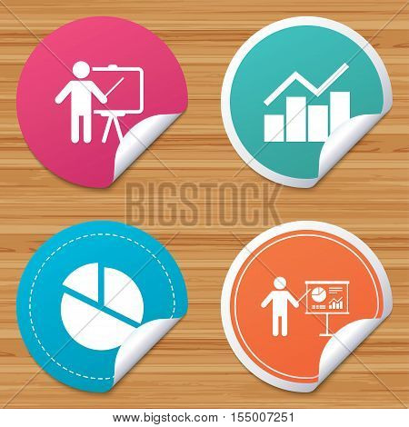 Round stickers or website banners. Diagram graph Pie chart icon. Presentation billboard symbol. Man standing with pointer sign. Circle badges with bended corner. Vector