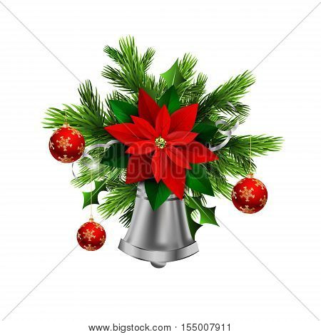 Christmas decoration with evergreen trees and silver bell with poinsettia