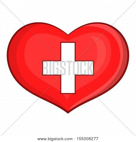 Heart with Swiss flag icon. Cartoon illustration of heart vector icon for web design