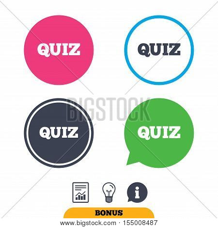 Quiz sign icon. Questions and answers game symbol. Report document, information sign and light bulb icons. Vector
