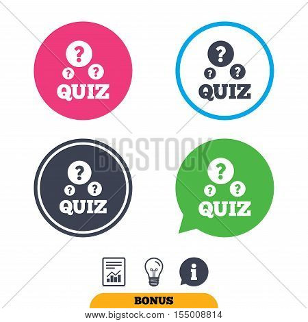 Quiz with question marks sign icon. Questions and answers game symbol. Report document, information sign and light bulb icons. Vector