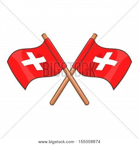 Switzerland flags icon. Cartoon illustration of Swiss flags vector icon for web design