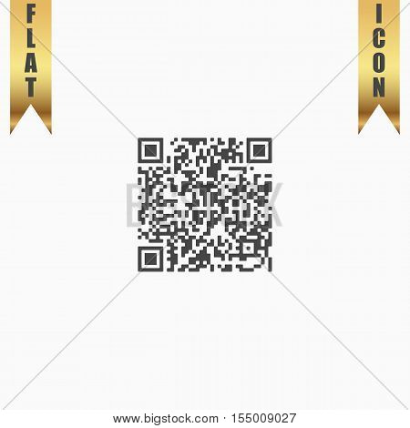 Qr code. Flat Icon. Vector illustration grey symbol on white background with gold ribbon