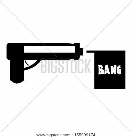 Gun with flag toy icon. Simple illustration of gun with flag toy vector icon for web