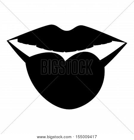 Female lips with tongue icon. Simple illustration of female lips with tongue vector icon for web