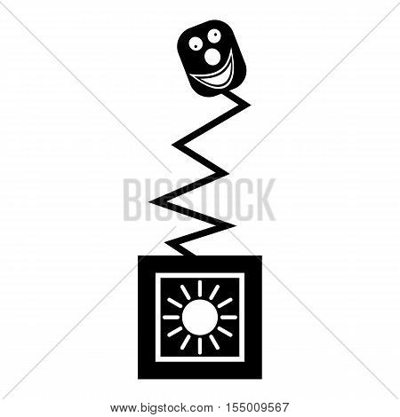 Toy on spring in box icon. Simple illustration of toy on spring in box vector icon for web