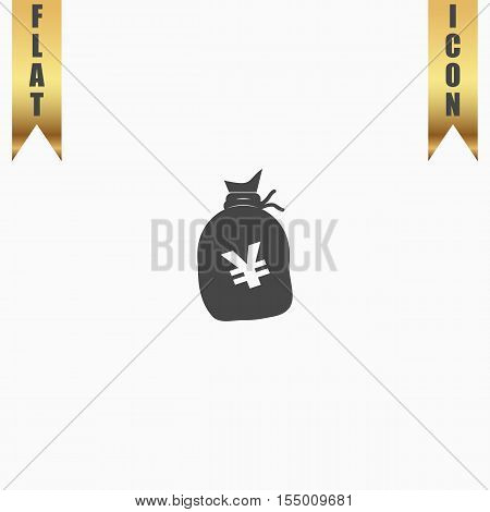 Money bag with Yen JPY. Flat Icon. Vector illustration grey symbol on white background with gold ribbon