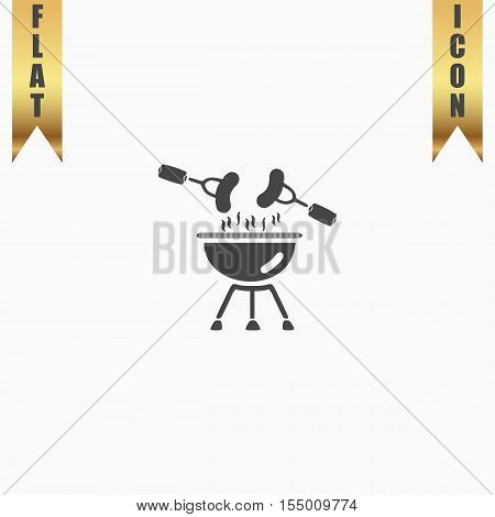 Grill Or Barbecue. Flat Icon. Vector illustration grey symbol on white background with gold ribbon