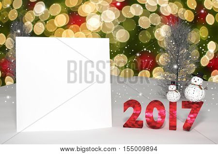 3D Rendering : 2017 Light Bokeh Number And White Card On Perspective Snowscape.snow Man With Sparkli