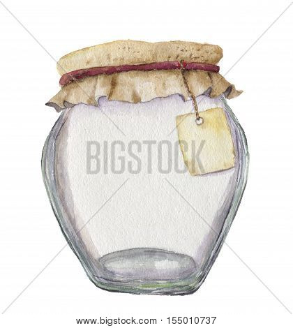 Watercolor empty jar for jam with label for inscription. Illustration isolated on white background. For design, textile and background.