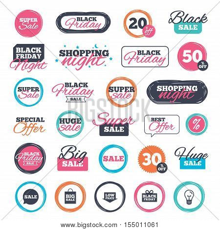 Sale shopping stickers and banners. Sale speech bubble icon. Black friday gift box symbol. Big sale shopping bag. Low price arrow sign. Website badges. Black friday. Vector