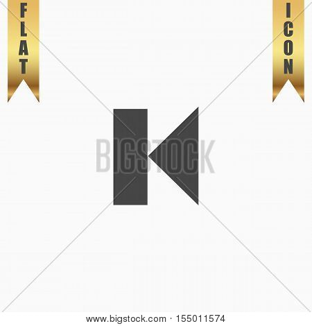 Back Track arrow Media player control button. Flat Icon. Vector illustration grey symbol on white background with gold ribbon