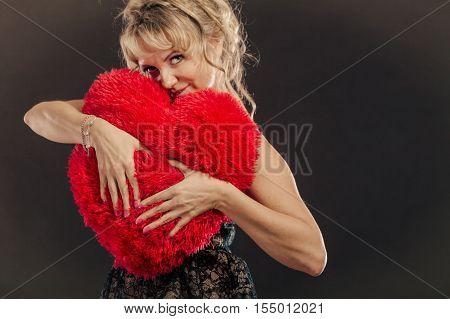 Mature Woman Hug Big Red Heart