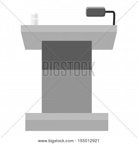 Tribune for performances icon. Gray monochrome illustration of tribune for performances vector icon for web