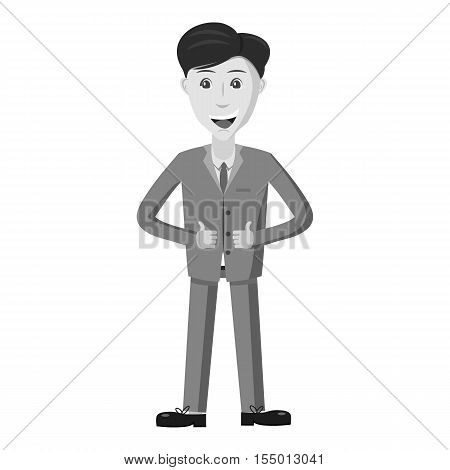 Businessman showing thumbs up icon. Gray monochrome illustration of businessman showing thumbs up vector icon for web