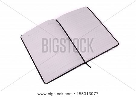 Black open notebook facing right angle to us isolated on white background with soft shadow (Clipping path)
