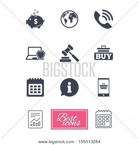 Online shopping, e-commerce and business icons. Auction, phone call and information signs. Piggy bank, calendar and smartphone symbols. Report document, calendar icons. Vector