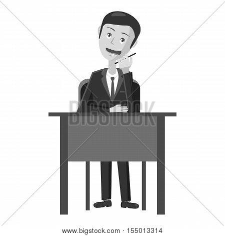 Businessman working at table icon. Gray monochrome illustration of businessman working at table vector icon for web