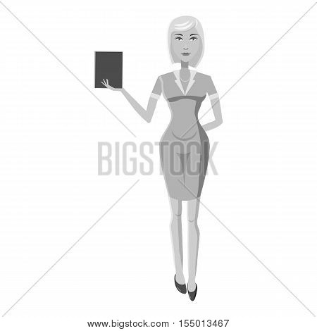 Businesswoman icon. Gray monochrome illustration of businesswoman vector icon for web