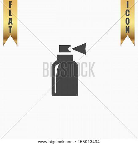 Spray. Flat Icon. Vector illustration grey symbol on white background with gold ribbon