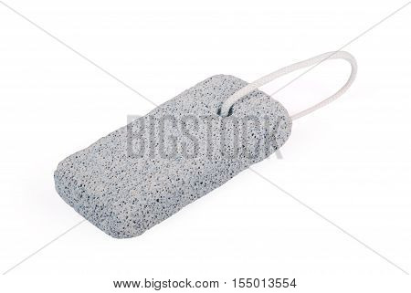 Grey pumice stone with rope on white background with soft shadow. Clipping path