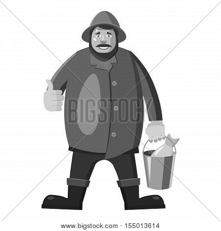 Fisherman icon. Gray monochrome illustration of fisherman vector icon for web