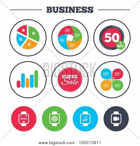 Business pie chart. Growth graph. Smart watch icons. Wrist digital time watch symbols. Music, Video, Globe internet and wi-fi signs. Super sale and discount buttons. Vector